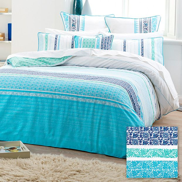 Makani Quilt Cover Set - Blue/Aqua | Quilt cover, Aqua and Cotton ... : aqua quilt - Adamdwight.com