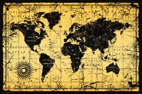 World Map Old Style Prints Framed World Map World Map Poster