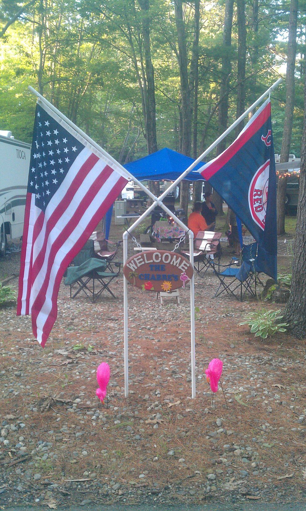 Flag Pole Welcome Sign Made With Pvc Pvc Flag Pole Flag Pole Diy Camping