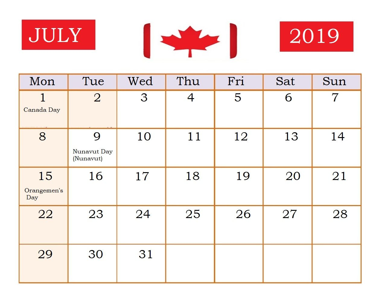 July 2019 Calendar With Holidays For Usa Uk Canada India
