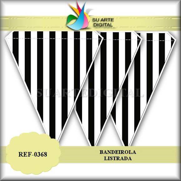 Bandeirola Listrada Preto e Branco