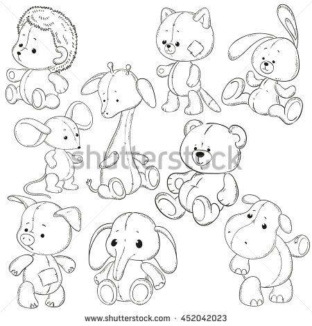 Стоковая векторная графика «Collection Stuffed Animals Soft Toys Coloring» (без лицензионных платежей), 452042023