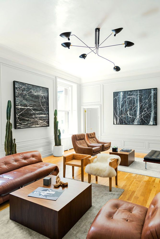 Trunk Club Office Nyc Domino Brown Living Room Living Room Decor Leather Sofa Living Room
