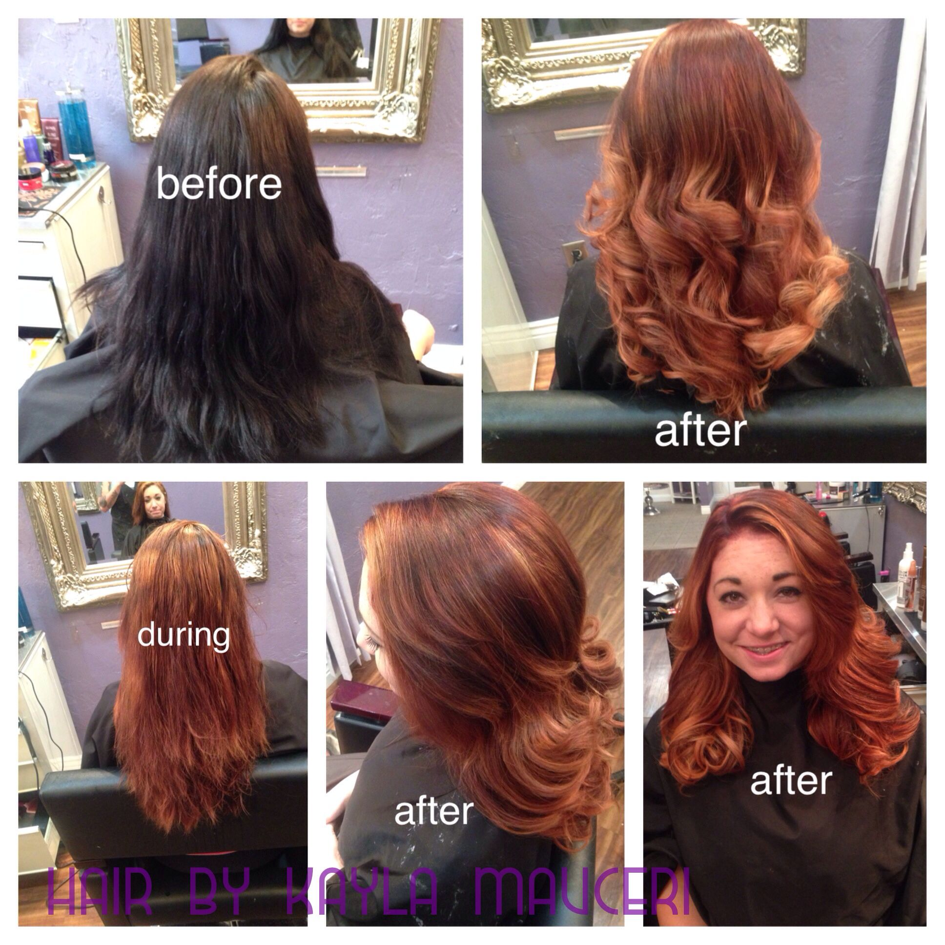 Color Correction Black Box Dye To Red To Golden Blonde Ombre