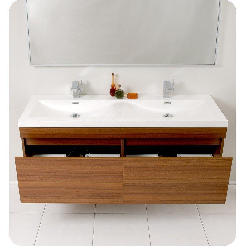 Fresca FVN8040TK Largo Modern Bathroom Vanity With Wavy Double Sinks In  Teak   Vanity Top Included