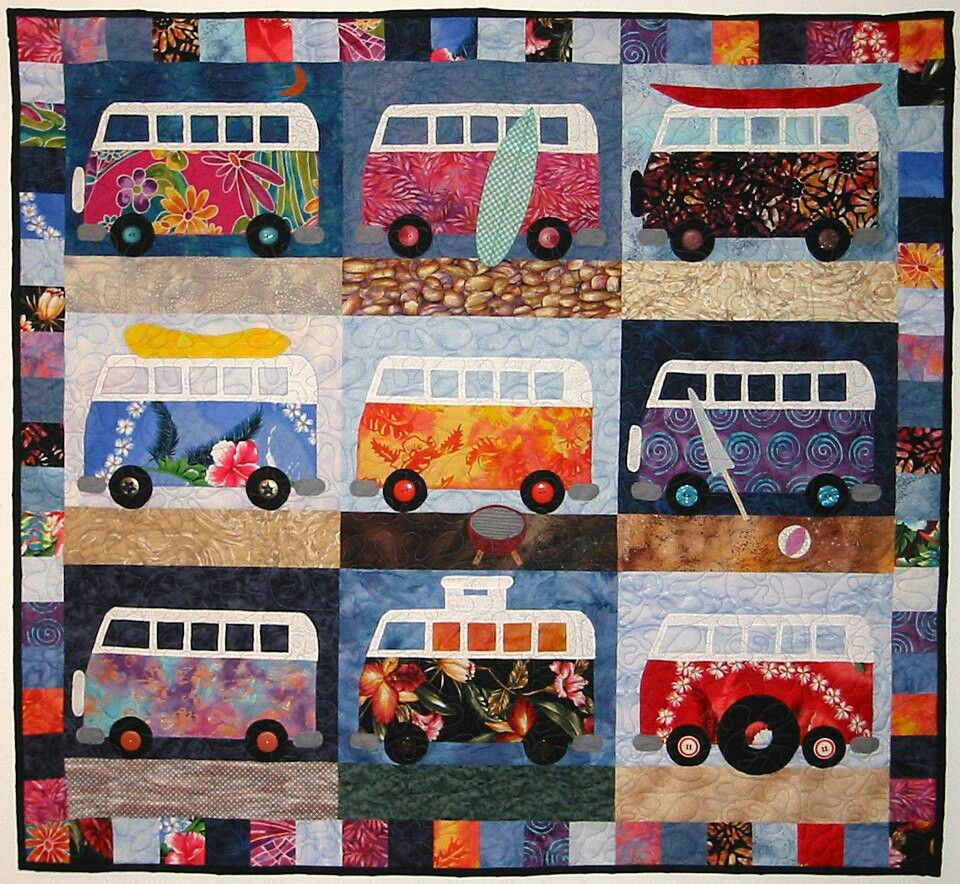 A Colorful Quilt For VW Bus Lovers. From The Sunshine Auto