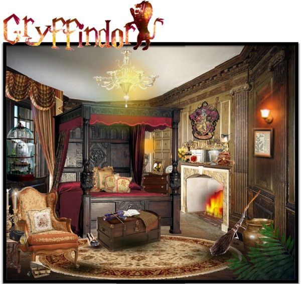 Harry potter bedroom by melissa de souza liked on for Room decor harry potter