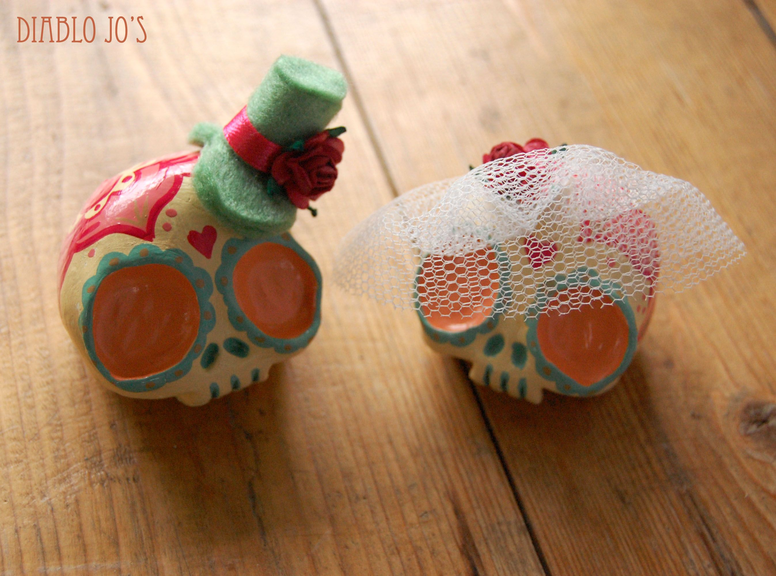 Custom Colours Wedding Sugar Skull Cake Toppers in Pastel