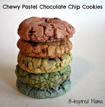 Pastel Rainbow Chocolate Chip Cookies at Dirt and Boogers form B-InspiredMama.com