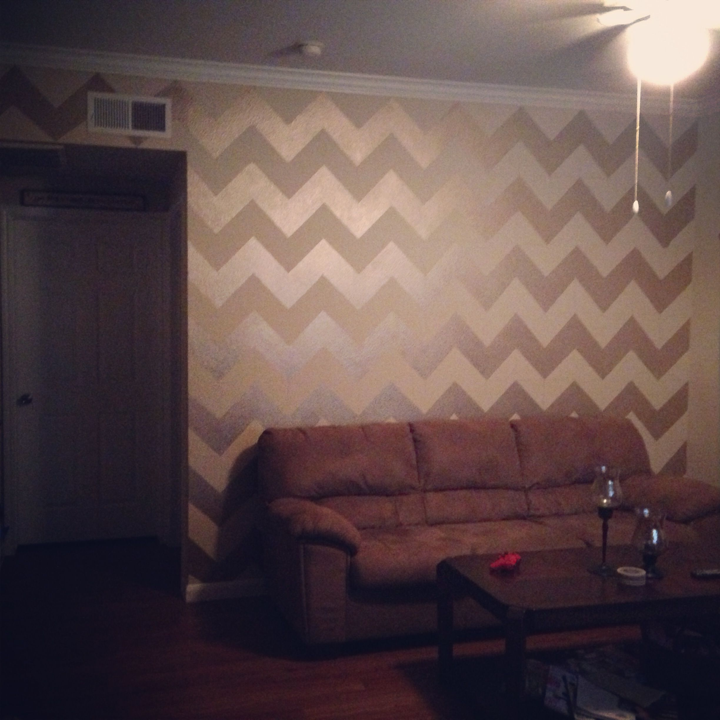 Chevron Accent Wall. Paint Used: Vintage Gold From Martha