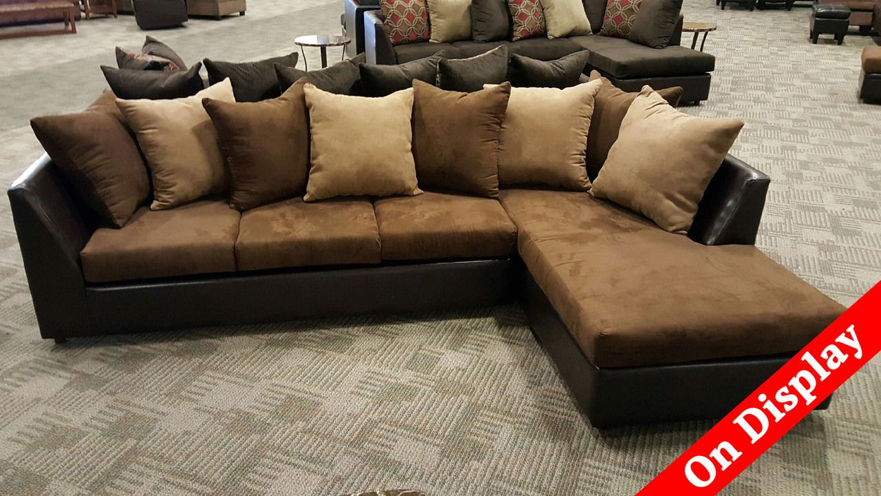 10x6 Sectional In Brown Microfiber 2pc Phoenix Sofa Factory