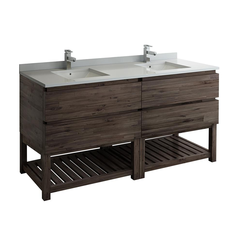 Fresca Formosa 72 In Modern Double Vanity With Open Bottom In Warm Gray With Quartz Stone Vanity Top In White With White Basin Fcb31 3636aca Fs Cwh U The Hom Modern Bathroom Cabinets Bathroom Vanities