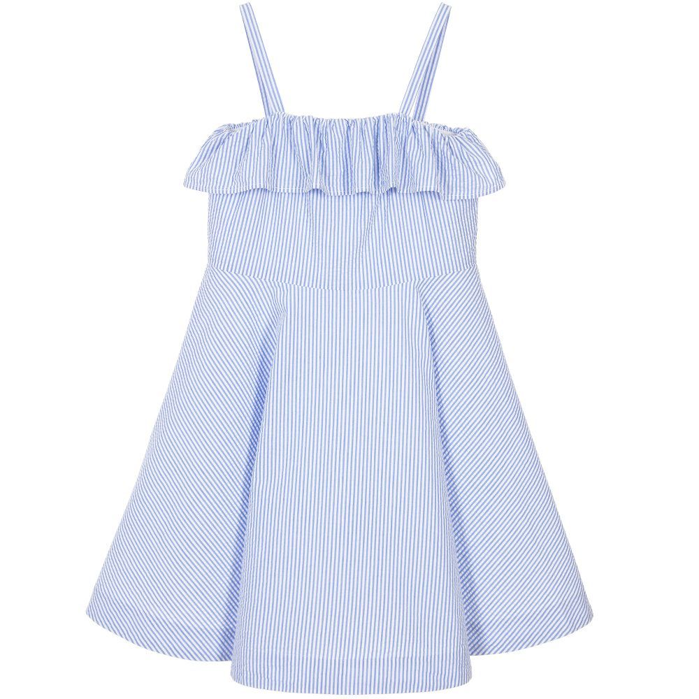 ralph lauren girls blue seersucker dress at childrensalon com