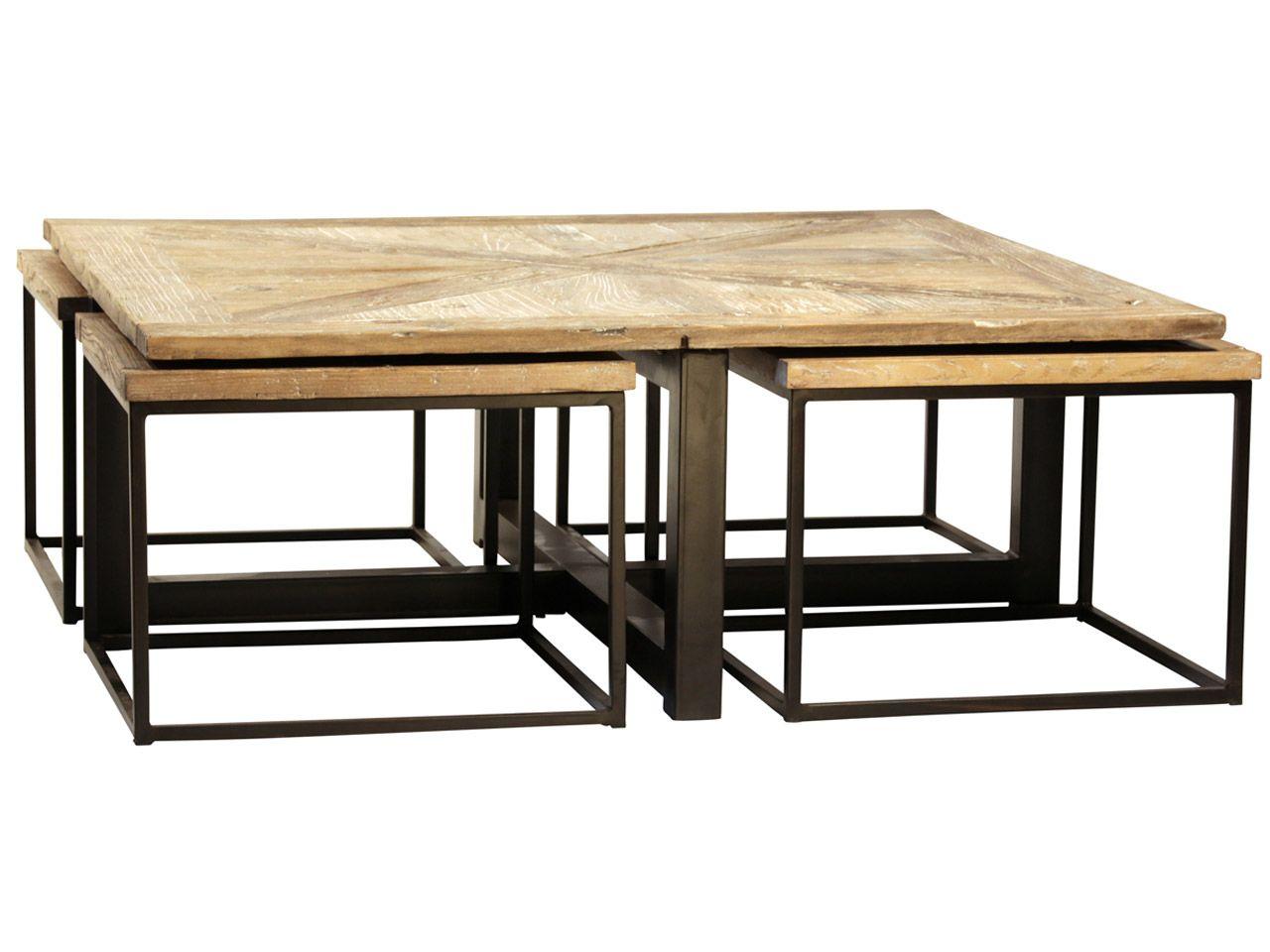 Furniture Drayton Nesting Coffee Table With Black Iron