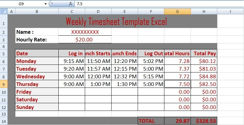 weekly timesheet template excel excelperks financial management