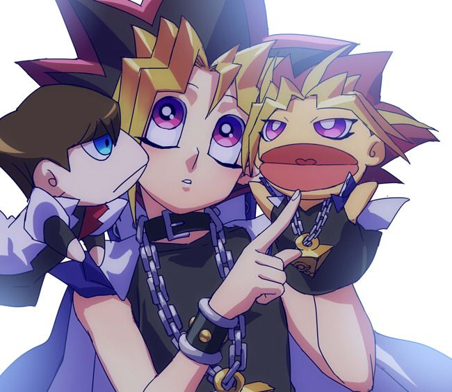 Tags: Anime, Yu-Gi-Oh!, Millennium Puzzle, Chain, Yami Yugi, Kaiba Seto, Coat Over Shoulders