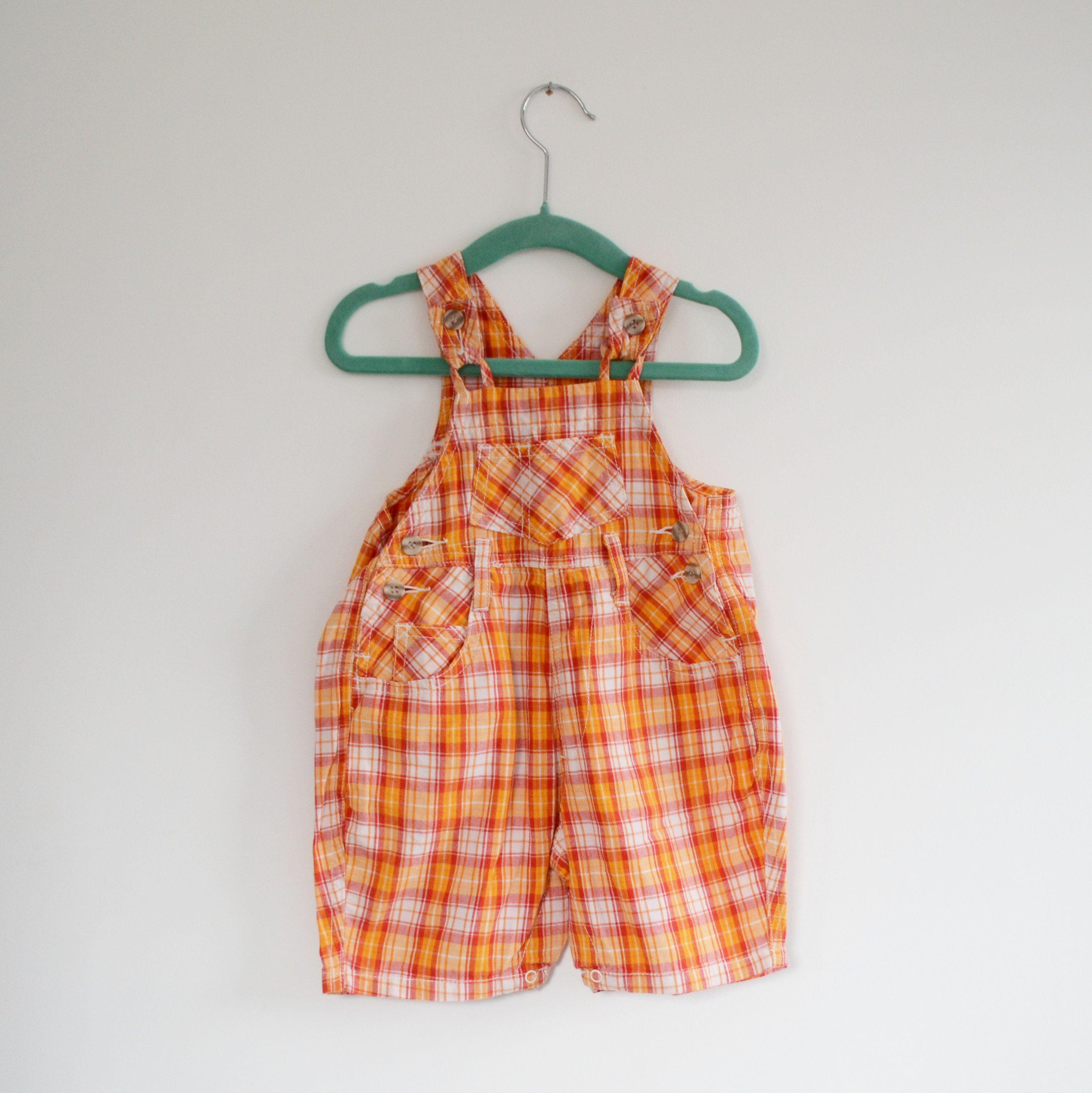 Vintage Orange Dungaree Shorts Age 9 12 Months Vintage Tesco