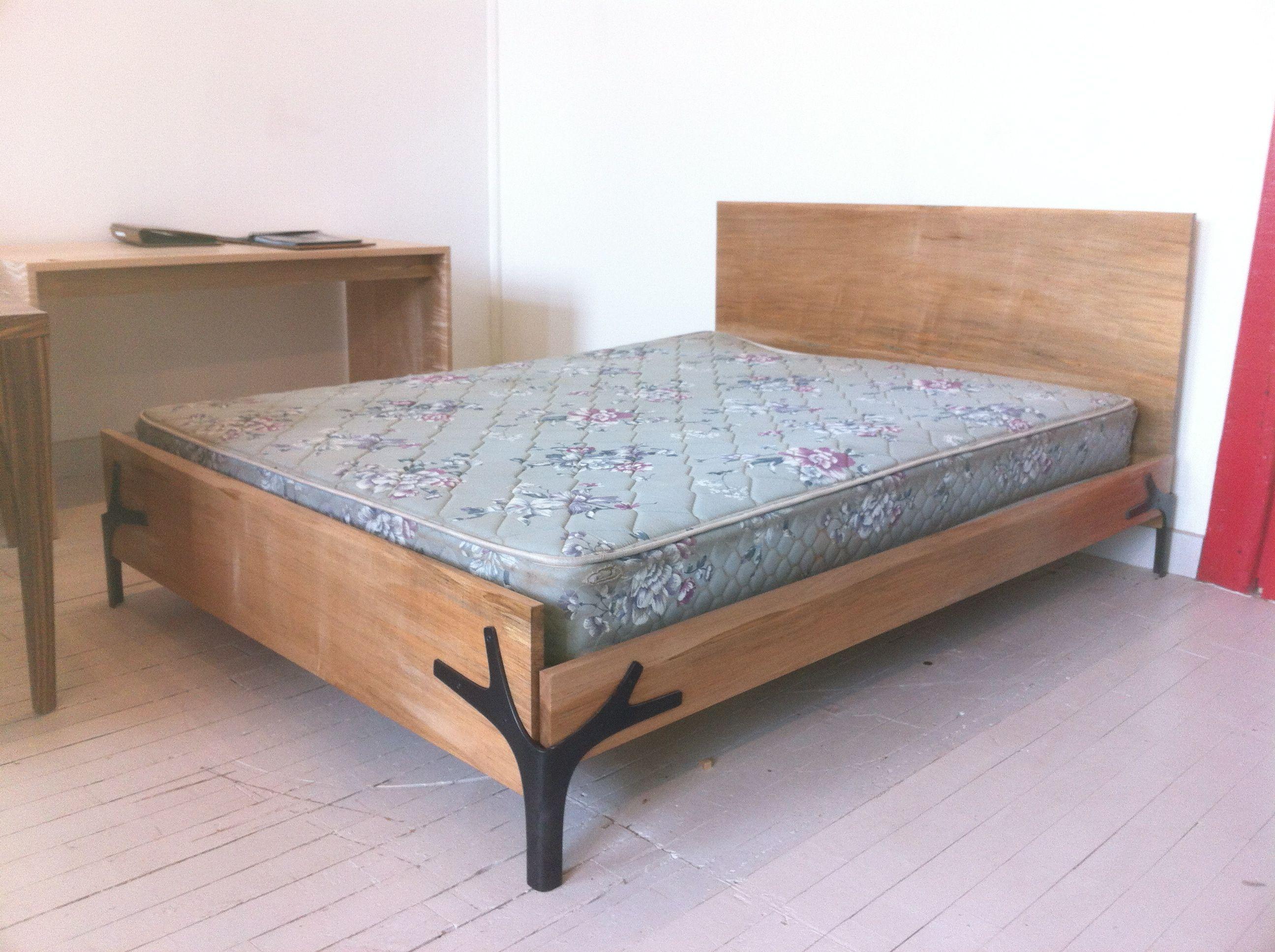 Delightful A Queen Size Bedframe In Maple With Weird Corner Brace Legs In Blackened  Steel.