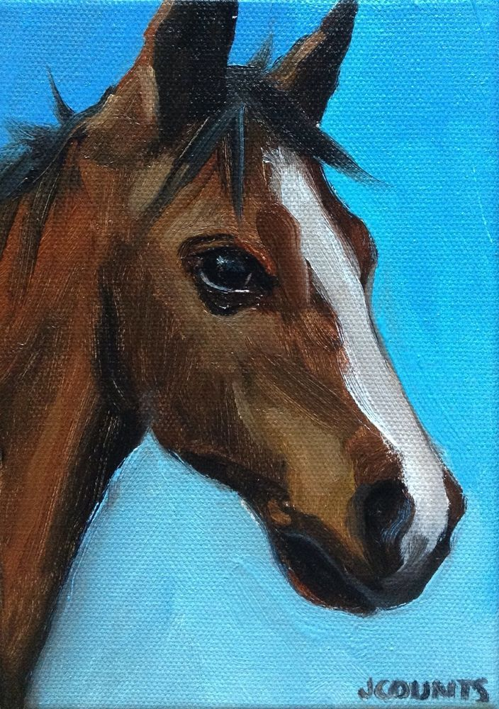 Horse art small oil painting equine farm barn home decor for Easy animal paintings