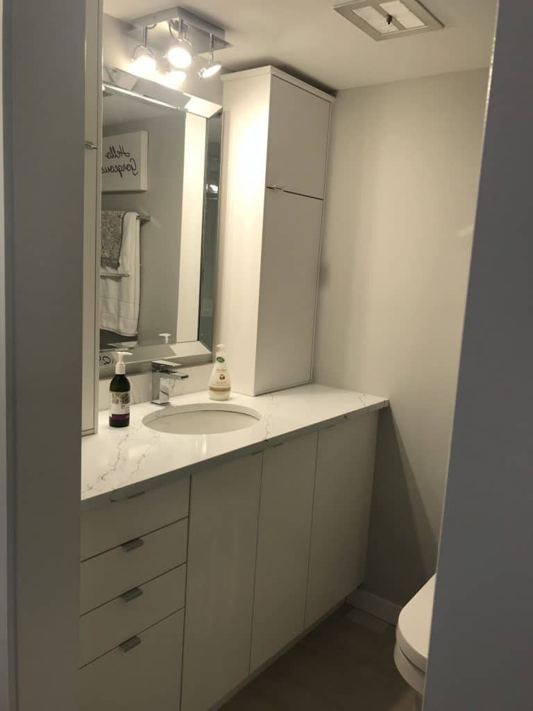 Using Ikea Kitchen Cabinet In Bathroom Unique Ikea Sektion Kitchen Cabinets As Bathroom Van In 2020 Kitchen Cabinets In Bathroom Ikea Kitchen Installation Ikea Kitchen
