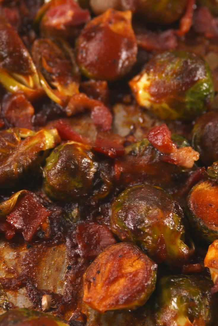 Addictive Brussels Sprouts Recipes That Everyone Will Devour #buffalobrusselsprouts Bacon BBQ Brussels Sprouts #buffalobrusselsprouts