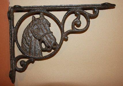 Country Western Cast Iron Shelf Brackets Horsehead 6 1 2