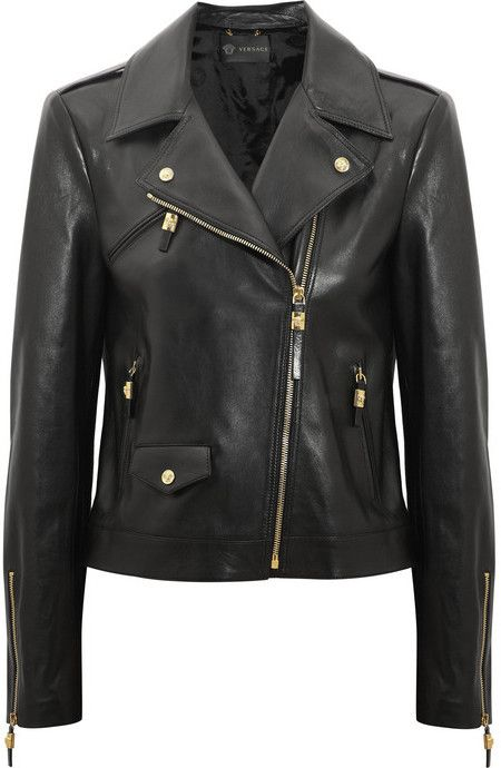 $3,995, Leather Biker Jacket by Versace. Sold by NET-A-PORTER.COM. Click for more info: http://lookastic.com/women/shop_items/5863/redirect