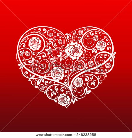 Beautiful vector heart of floral ornament