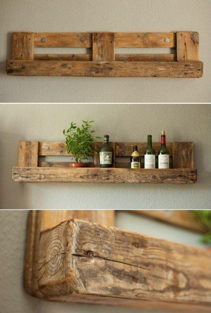 etagere en palette de bois plante verte bouteille de vin