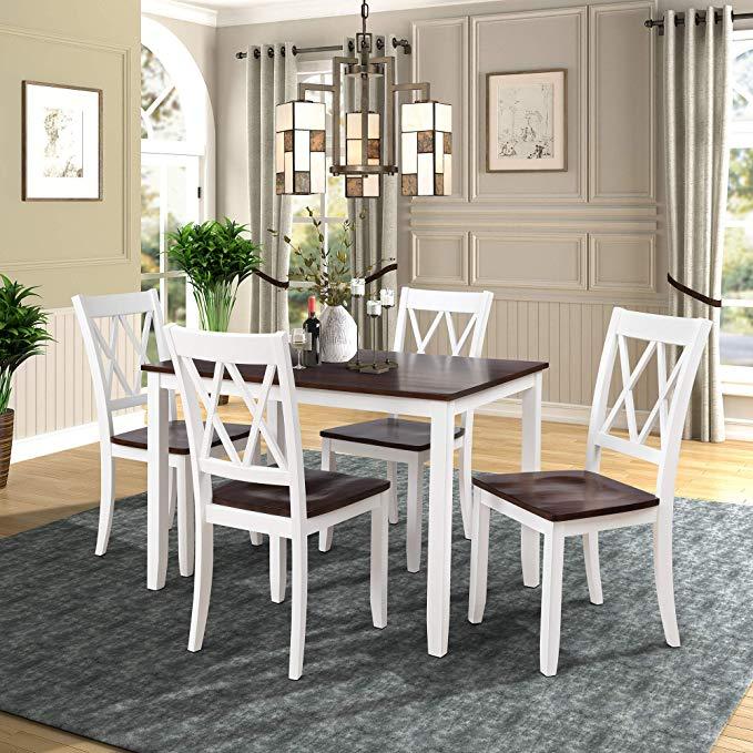 Amazon Com Merax Dining Table Set Kitchen Dining Table Set For 4 Wood Table And C Dining Room Table Set Kitchen Table Settings Rectangular Dining Room Table