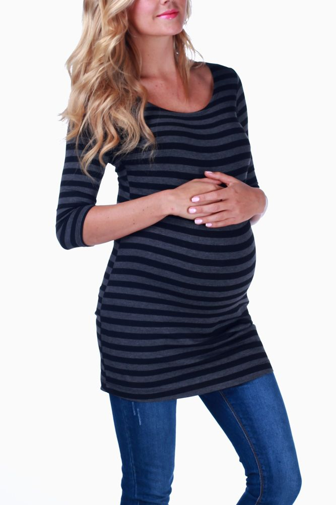 bd629714dc Black-Grey-Striped-3 4-Sleeve-Maternity-Shirt  maternity  fashion   cutematernityclothing  cutematernitytops  falloutfits  falltrends