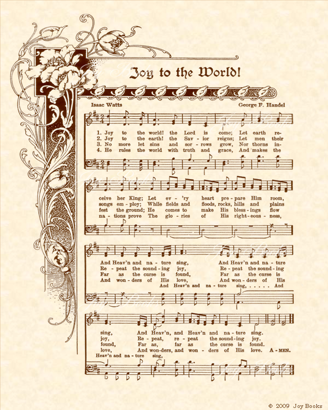 Joy To The World Christian Heritage Hymn Sheet Music Vintage Style Natural Parchment Sepia Brow Sheet Music Crafts Christmas Songs Lyrics Christmas Music