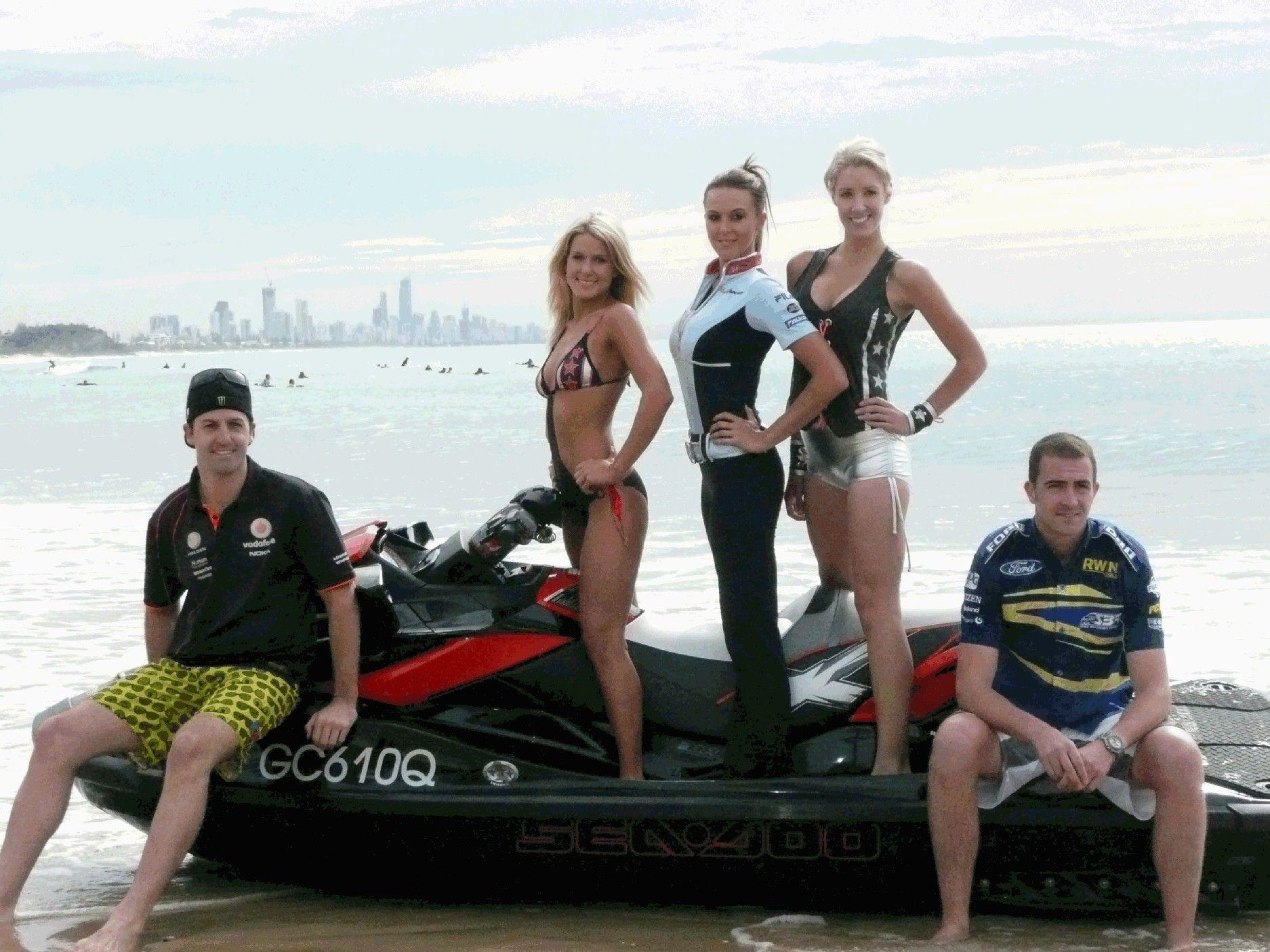 V8 Supercar Drivers Jamie Whincup And Alex Davison Roared Into Burliegh Beach By Jetski Today Bearing The Models Revealing Jet Ski Grid Girls Bikini Models