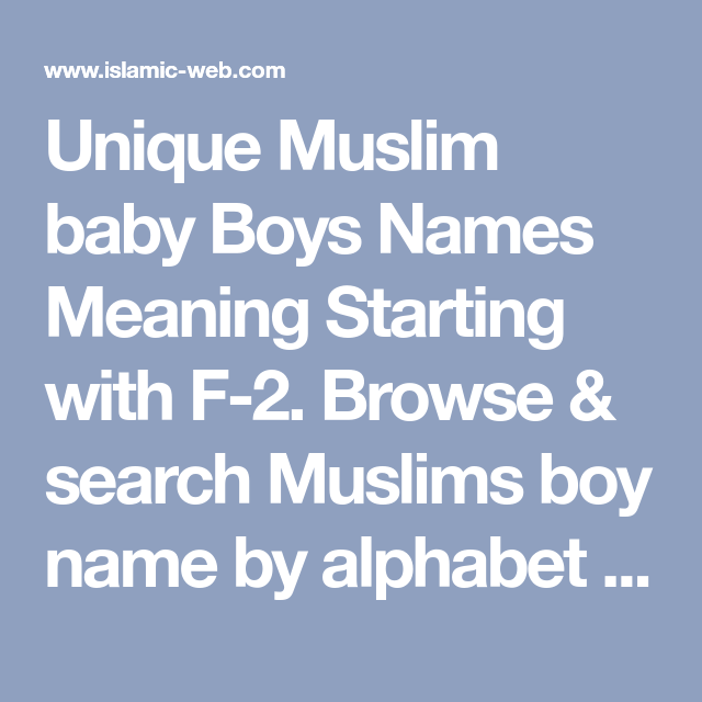 Muslim Baby Boy Names Starting With Letter F | mamiihondenk org