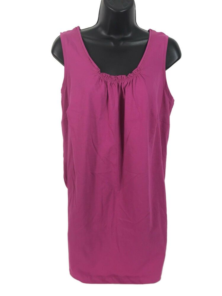 cff2d28e7c34be Woman Within Tank Top Womens Size 14 16 Medium Pink Sleeveless Cinched Neck  line  fashion