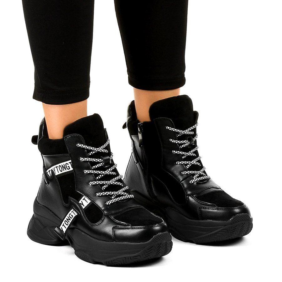 Czarne Damskie Sneakersy Ocieplane F803 7 Black Wedge Sneakers Womens Sneakers Black Womens