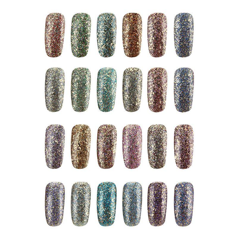 24 colores del brillo del diamante-astilla micro grano de uñas de ...
