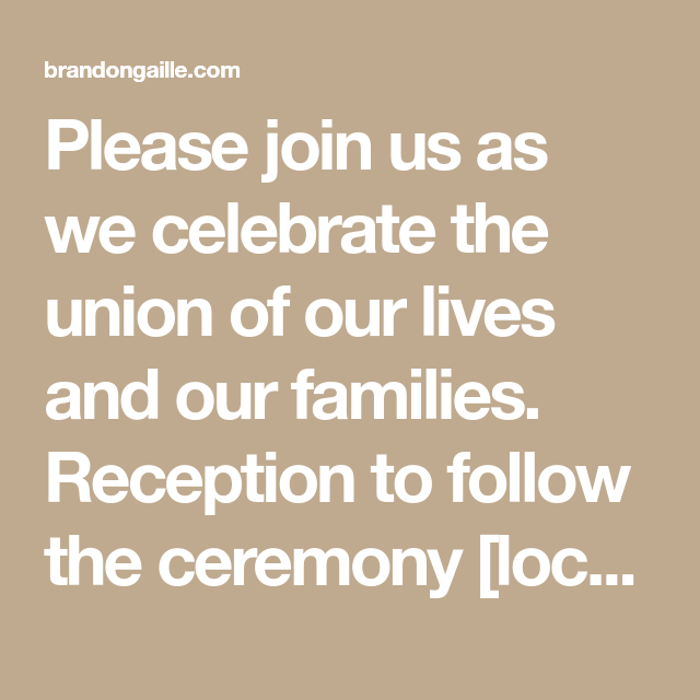 Reception Following Ceremony Wording: 16 Wedding Reception Only Invitation Wording Examples