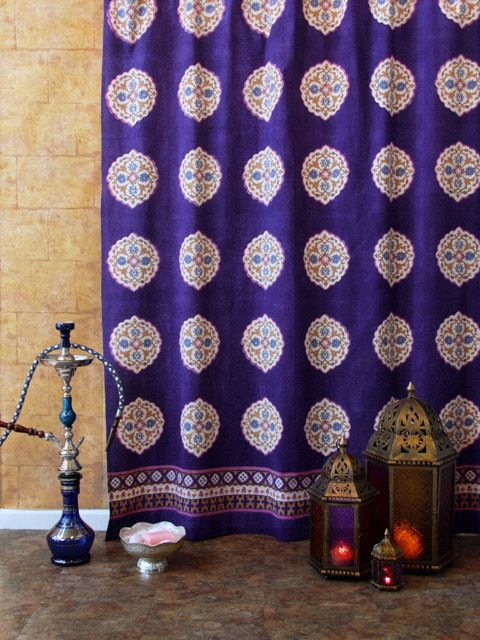 Sultans Palace Old Purple Blue Moroccan Fabric Shower Curtain