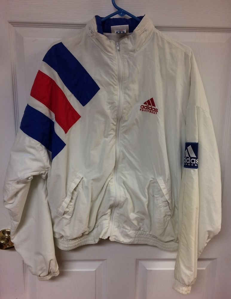 193131e80617d Vintage Adidas Equipment Red White & Blue Zip Up Windbreaker USA ...
