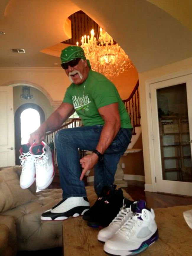 the latest a702e 48fc9 Hulk Hogan wearing Air Jordan XIII 13 Retro White Black