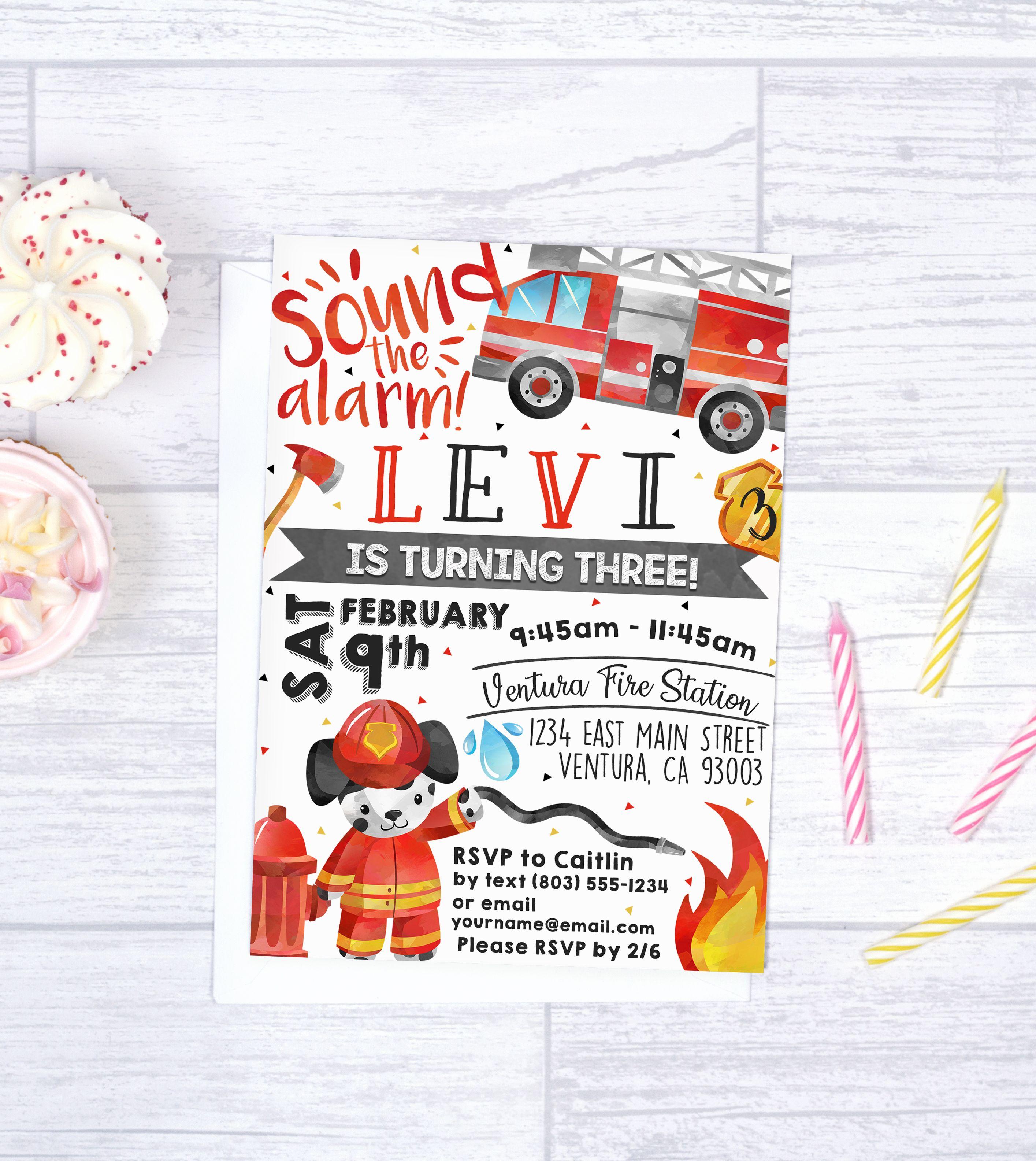 Firetruck Invitation Firestation birthday invitation