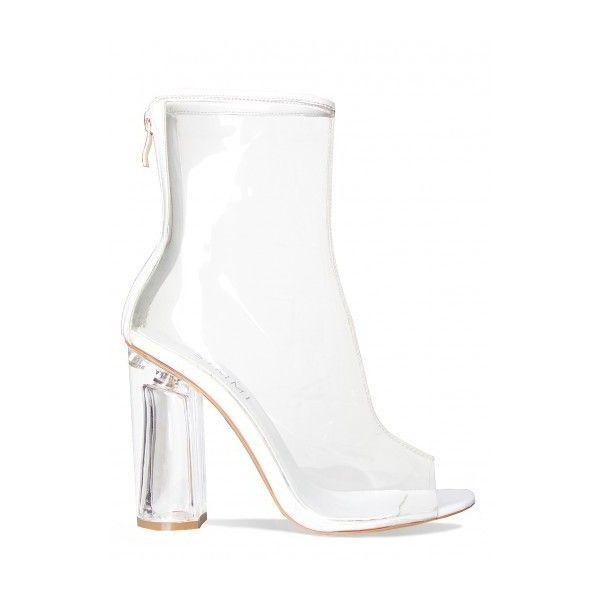 9ba67d4f6e0 Melissa White Peep Toe Transparent Heel Ankle Boots : Simmi Shoes ...