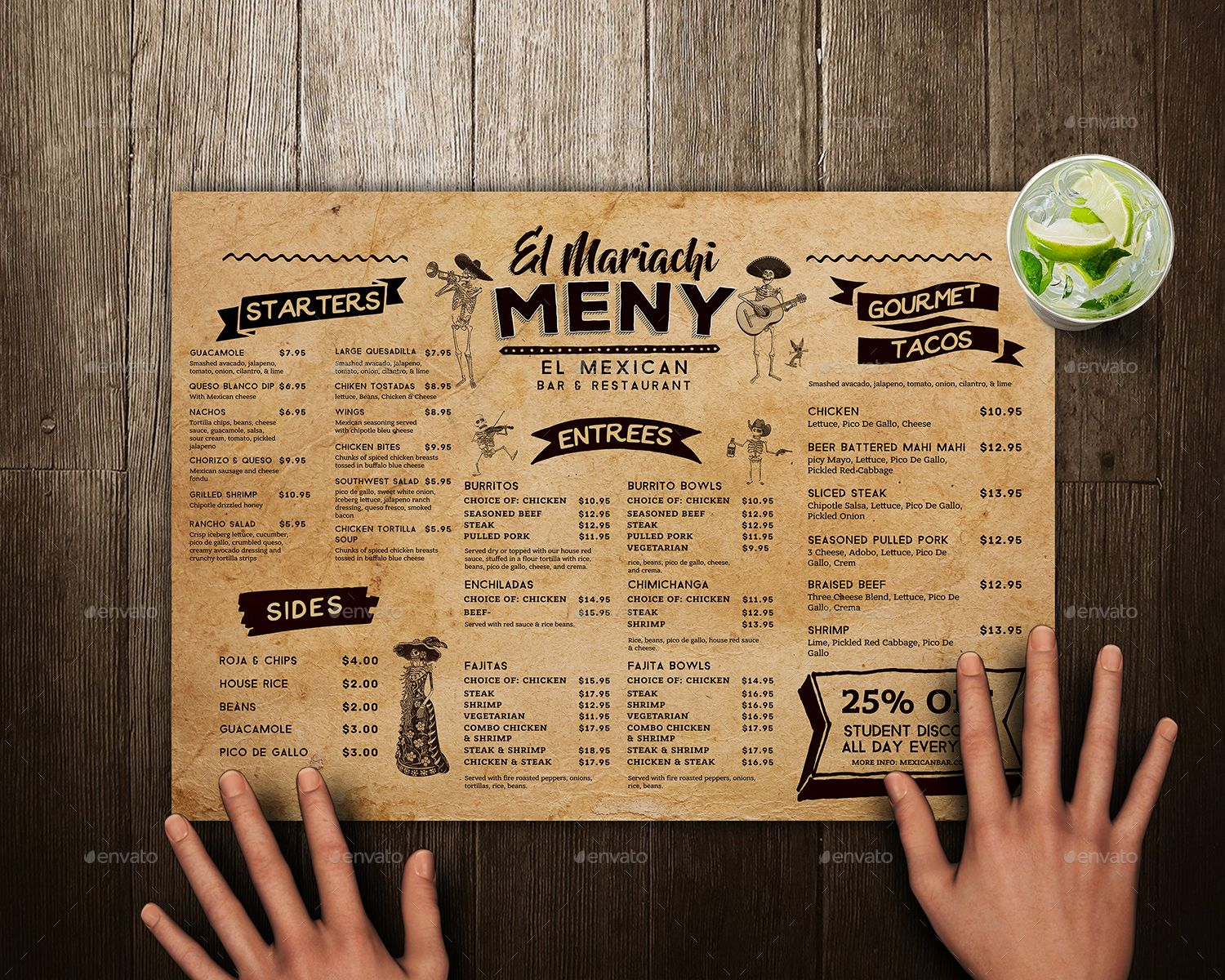 Mexican Food Menu Placemat Template Mexican Food Menu Food Menu Mexican Food Recipes