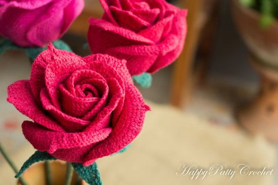 Crochet Rose Pattern - Crochet Pattern for Wedding Bouquets and Home ...