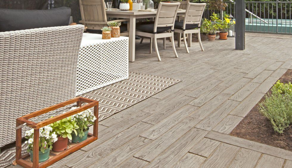 "borealis concrete pavers that look like wood techo bloc 2.5"" thick"