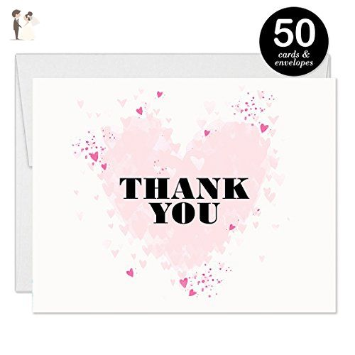 Heart Bridal Thank You Cards With Envelopes Pack Of 50 Pink