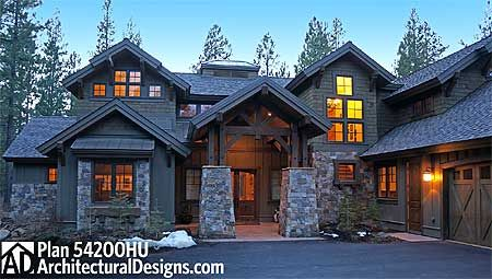 Plan 54200HU: Stunning Mountain Home with Four Master Suites