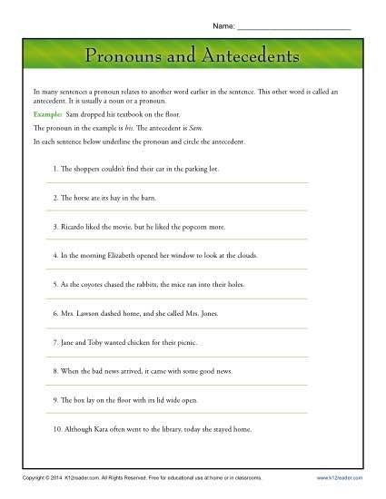 Pronouns And Antecedents Pronouns Middle School Pronoun