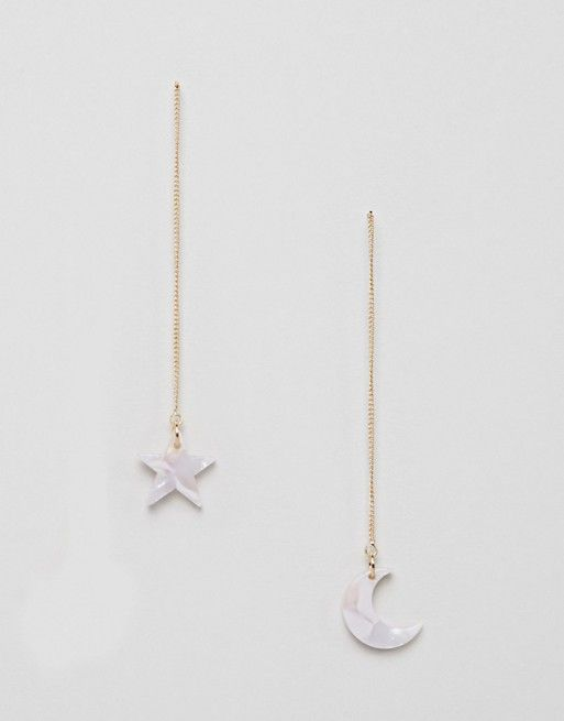 DESIGN Petal Pull Through Earrings - Silver Asos NM0myHARQF